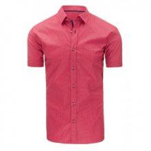 Pánská košile elegantní se vzory s krátkým rukávem růžová