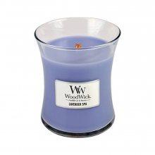 WoodWick Levandulová lázeň - svíčka ve skleněné dekorativní váze s dřevěným víčkem\n\n
