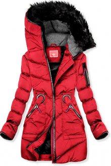 Červená zimní prodloužená bunda