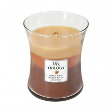 WoodWick Pohodlí podzimu - svíčka ve skleněné dekorativní váze s dřevěným víčkem 863839\n\n