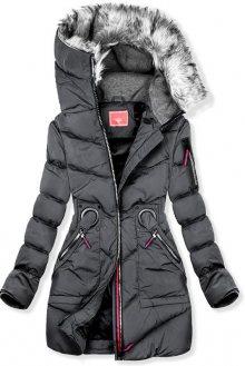 Šedá zimní prodloužená bunda