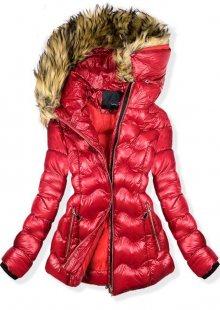 Červená krátká zimní bunda