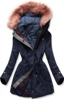 MODOVO Dámská zimní bunda s kapucí PO-730 tmavě modrá
