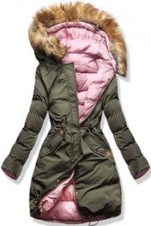 MODOVO Dámská zimní bunda s kapucí  A5 khaki-pudrová