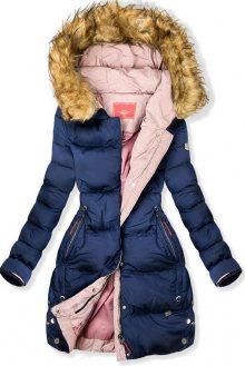 Modro-růžová prošívaná bunda