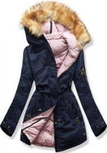 MODOVO Dámská zimní bunda s kapucí B-736 modro-pudrová