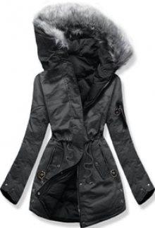 MODOVO Dámská zimní bunda s kapucí B-736 grafitově-černá