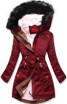 MODOVO Dámská zimní bunda s kapucí A93 bordó