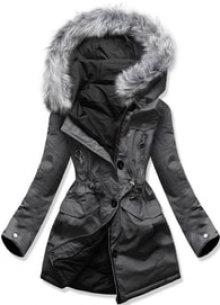 MODOVO Dámská zimní bunda s kapucí B-746 grafitově-černá