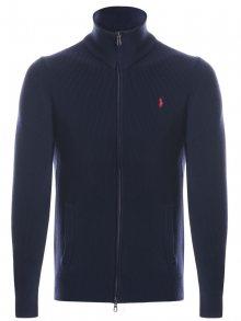 Tmavě modrý prémiový svetr na zip od Ralph Lauren Velikost: XL