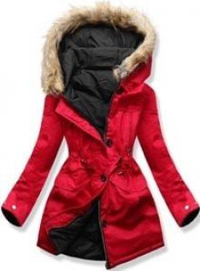 MODOVO Dámská zimní bunda s kapucí B-746 červeno-černá