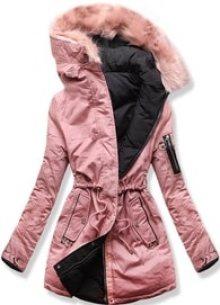 MODOVO Dámská zimní bunda s kapucí B-736 pudrově-černá