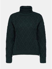 Tmavě zelený oversize svetr s rolákem a s příměsí vlny Selected Femme Carmi