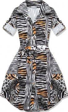Černo-hnědé šaty se vzorem