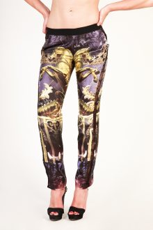 Černo-zlato-fialové kalhoty Philipp Plein Velikost: XS
