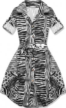 Černo-bílé šaty se vzorem