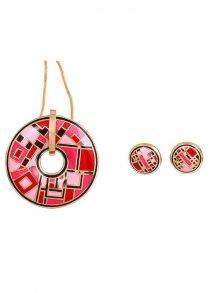 Rose Salome Jewels Dámský set s náhrdelníkem a náušnicemi BNGE002L_RED PINK BLACK\n\n