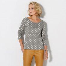 Blancheporte Puntíkované tričko s dlouhými rukávy šedá/režná 42/44
