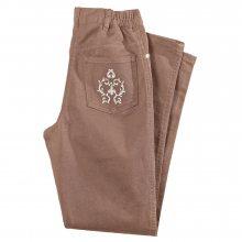 Blancheporte Džínové kalhoty s výšivkou, menší postava hnědošedá 38