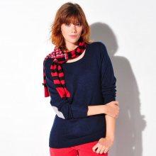 Blancheporte Jednobarevný pulovr s kulatým výstřihem námořnická modrá/šedý melír 34/36