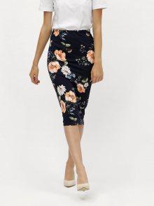 Tmavě modrá květovaná pouzdrová sukně Dorothy Perkins
