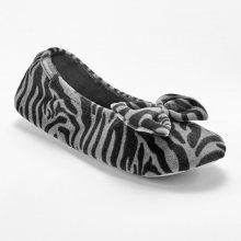 Blancheporte Sametové baleríny Isotoner s potiskem zebry černá 35/36