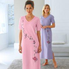 Blancheporte Noční košile s krátkými rukávy, sada 2 ks růžová+levandulová 34/36