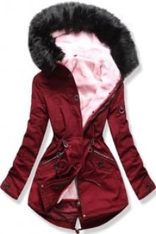 MODOVO Dámská zimní bunda s kapucí PO-303 bordó
