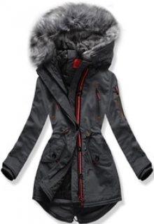 MODOVO Dámská zimní bunda s kapucí PO-301 grafitová