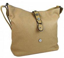 Velká dámská crossbody kabelka hnědo-béžová - hnědo-béžová