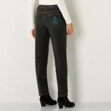 Blancheporte Džínové kalhoty s výšivkou, vyšší postava černá 36