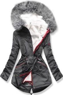 MODOVO Dámská zimní bunda s kapucí PO-303 grafitová