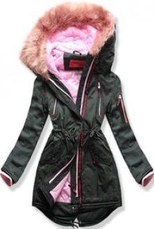 MODOVO Dámská zimní bunda s kapucí PO-301 khaki