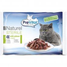 PreVital dušené filetky pro sterilizované kočky 4x85g v omáčce losos v omáčce 4x85g