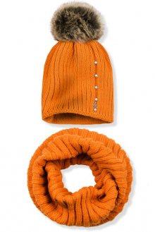 Oranžový zimní set čepice a šála
