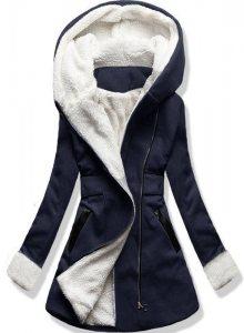 Tmavě modrý zimní kabát s kapucí