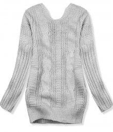 Světle šedý svetr s mašlí