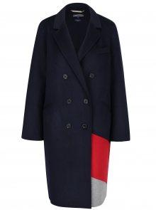 Modrý dámský lehký vlněný kabát Tommy Hilfiger