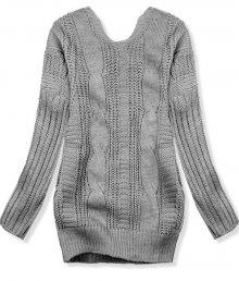 Grafitový svetr s mašlí