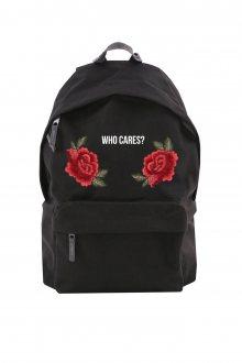Batoh Simple Who cares Roses s nášivkou