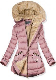 Růžová prošívaná bunda s plyšovou podšívkou