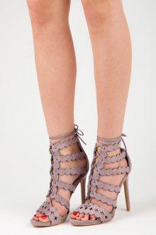 Sexy fialové sandály na vysokém jehlovém podpatku
