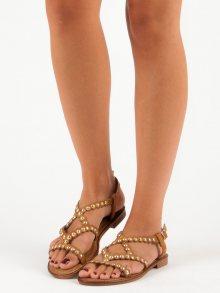 Ploché hnědé sandály