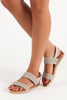 Ažurové šedé ploché sandály