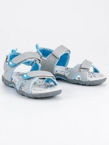 Pohodlné šedé dětské sandály na suchý zip