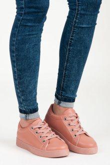 Trendy růžové boty se šněrováním