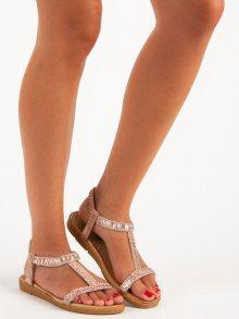 Růžové sandály s gumičkou