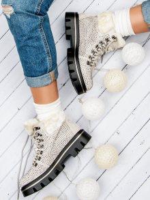 Originální krémové kotníkové boty s kamínky