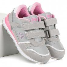 Dívčí šedo-růžové boty na suchý zip