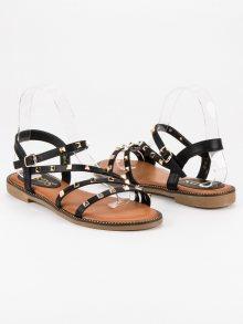 Stylové černé ploché sandály se cvoky
